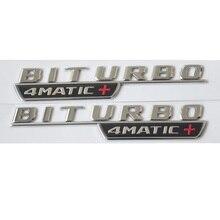 1 pair Chrome BITURBO 4MATIC+ Car Trunk Fender Letters Badge Emblem Emblems Badges for Mercedes Benz AMG 2017-2019
