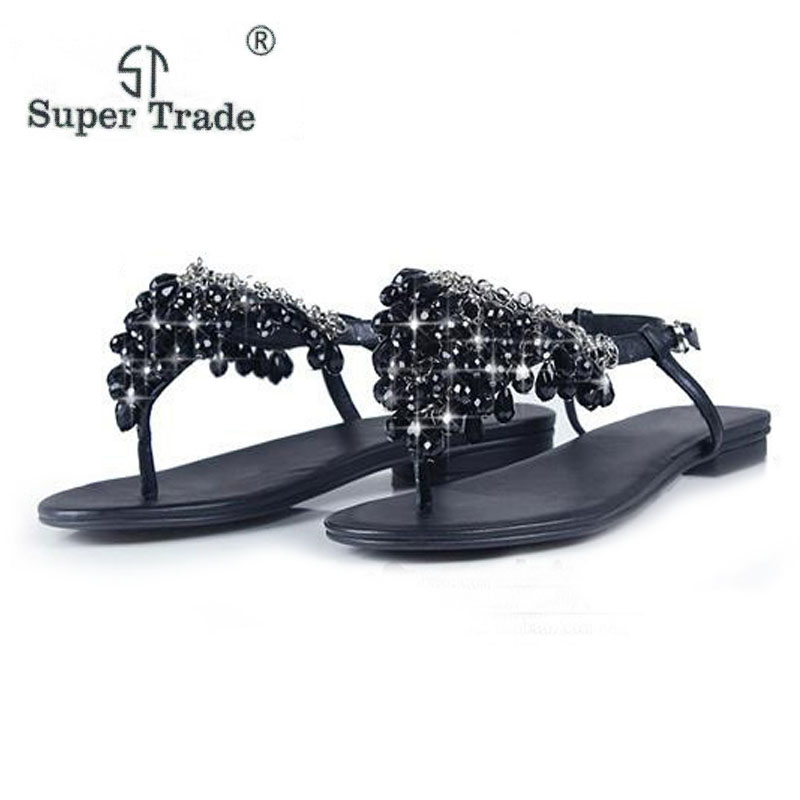 ST SUPER TRADE 2018 Swarovski Crystal Pendant Sandals With Bohemian Sandals Women Shoes Large Size35-41 Flat Shoes Women Sandals crystal gayle st catharines