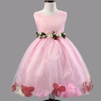 Çocuklar Yaz Çiçekler toddler elbise Çiçek Kız Elbise Düğün Paskalya Genç Gelinlik Beyaz Kıvırmak Prenses Kız Elbise