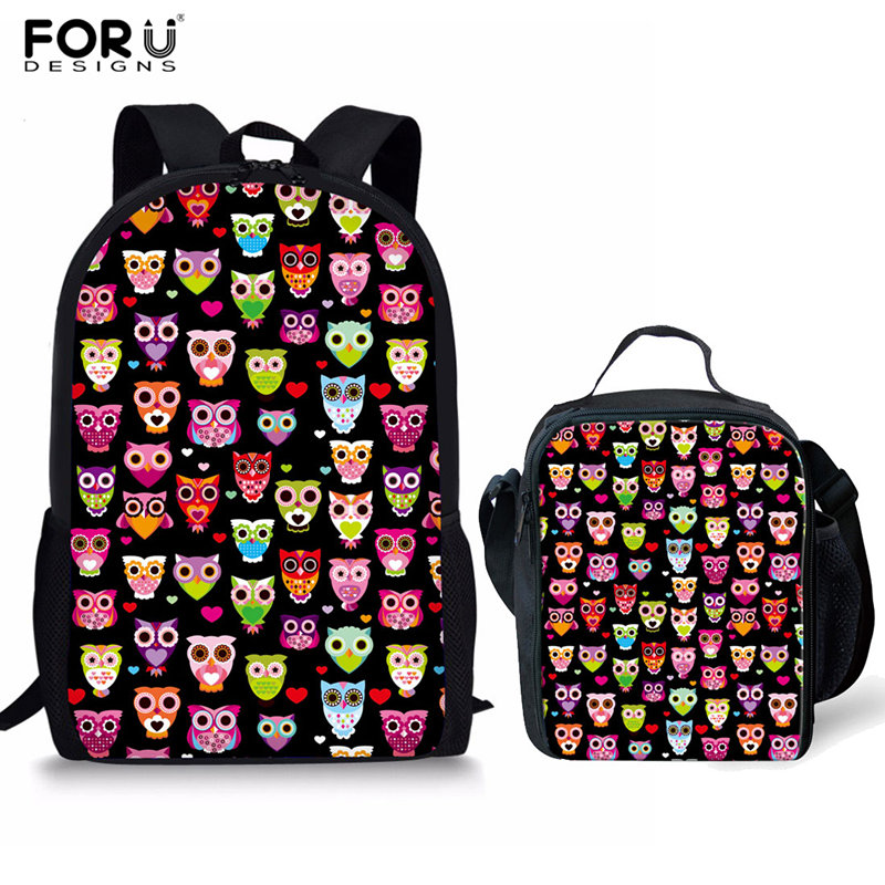 FORUDESIGNS 2Pcs/set Kids School Bags Set Children Owl Printing School Backpack for Girls Boys Book Bag Daily Satchel Custom Bag minions ninja mini messenger bag children cute animal dog cat horse printing school bags boys kids book bag for snack best gift
