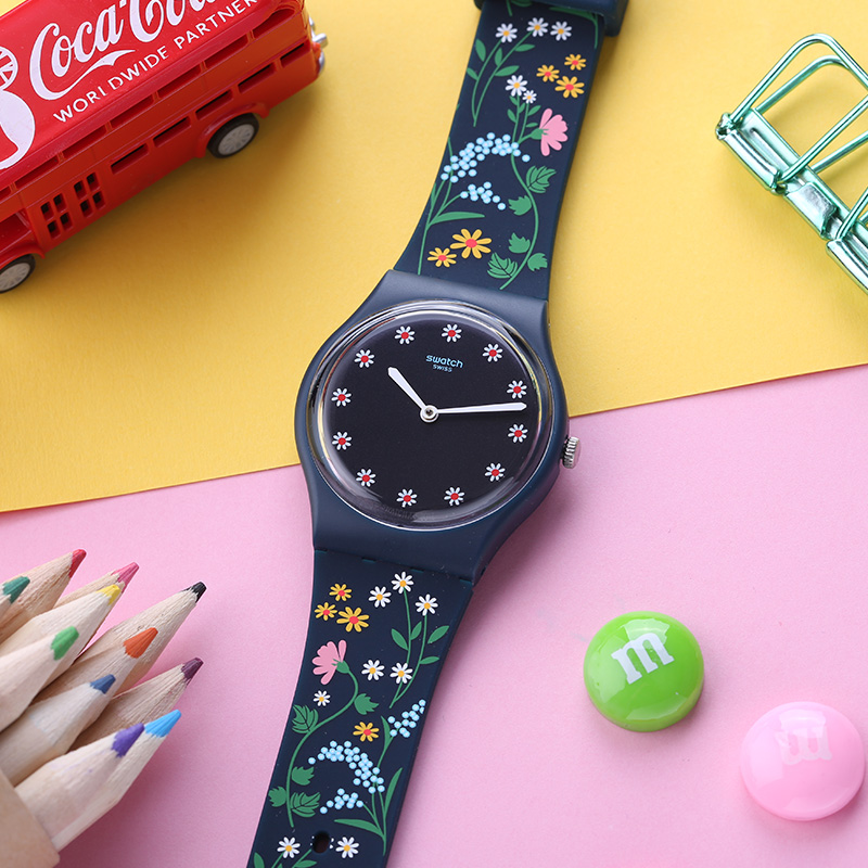 Swatch Watch Classic Color Code Series Flower Dial Quartz Watch GN256 цена и фото