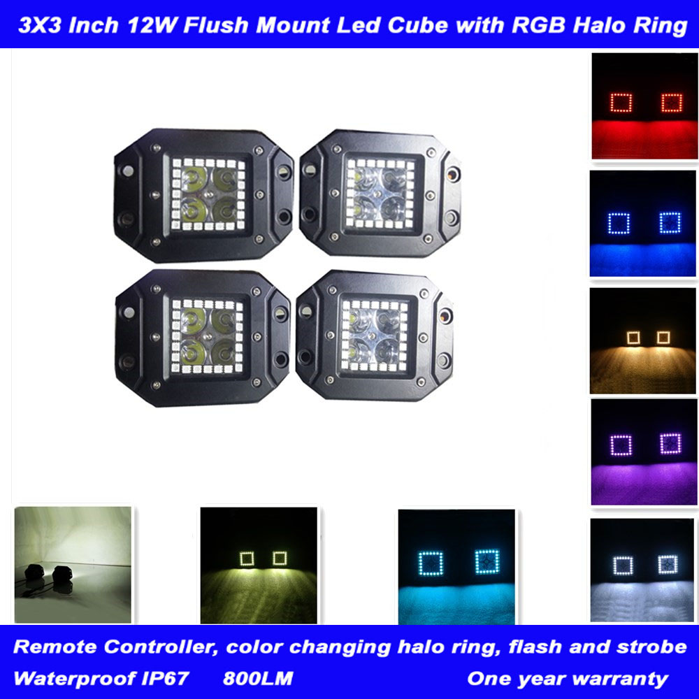3 Flush Mount Fog Light with RGB Halo Ring Remote Control Flash 8 Colors Led Work Light for ATV SUV Jeep Off-road4x4(pack of 4) windshield pillar mount grab handles for jeep wrangler jk and jku unlimited solid mount grab textured steel bar front fits jeep