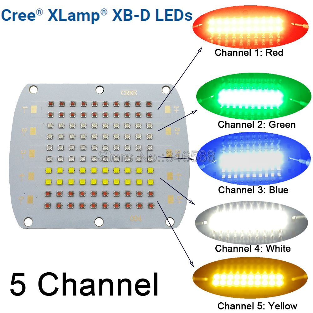 Bricolage Cree XBD 100 W émetteur de LED lumière rouge vert bleu blanc jaune 5 canaux couleur mélangée 30-34 V 750mA 82x66 MM carte de circuit imprimé en cuivre