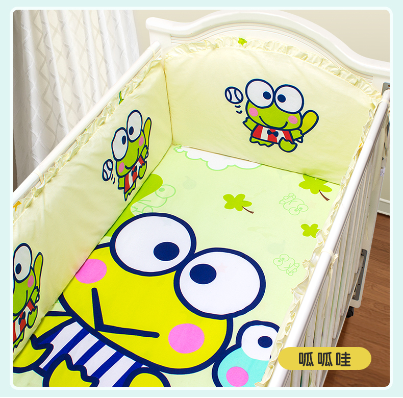 Promotion! 5PCS Animal 100% cotton cot bedding kit baby bedding set (4bumper+sheet) promotion 5pcs 100