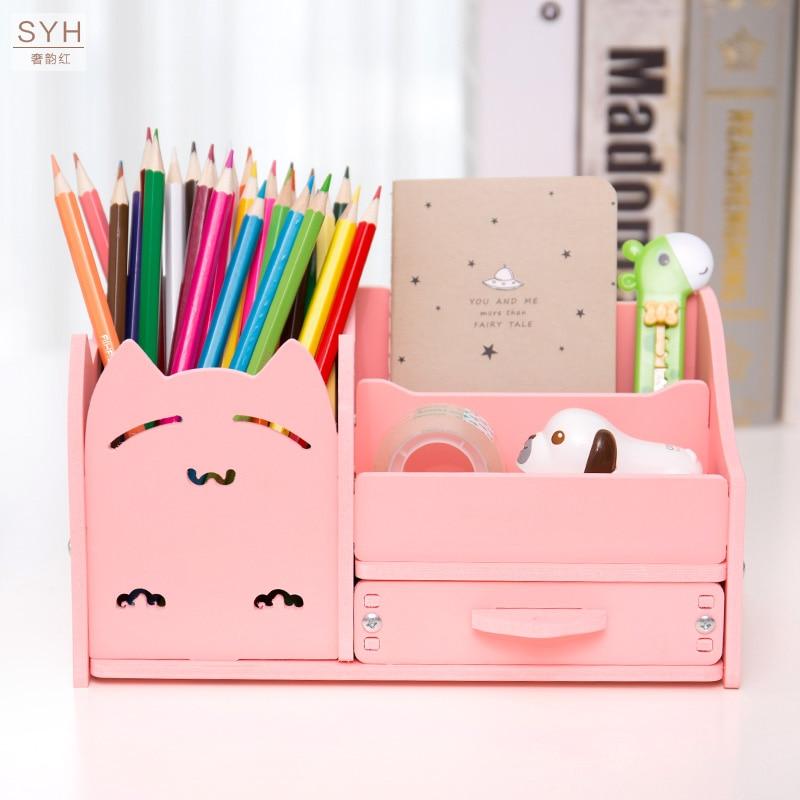 Muiti Function DIY School Desk Pen Pencils Drawer Case Storage Box Table Simple Pencil Shelf Holder Office Stationery Supplies