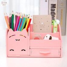 Muiti funkcja DIY biurko szkolne długopisy ołówki walizka z szufladami schowek stół prosty ołówek uchwyt półki materiały biurowe