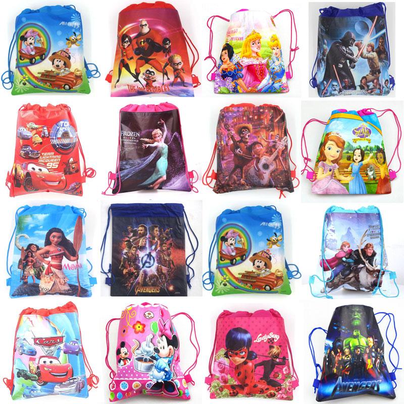 1pcs Disney Non-woven Fabrics Kid Favor Travel Pouch Storage Clothes Shoes Bags Cotton Drawstring Bags School Portable Backpack