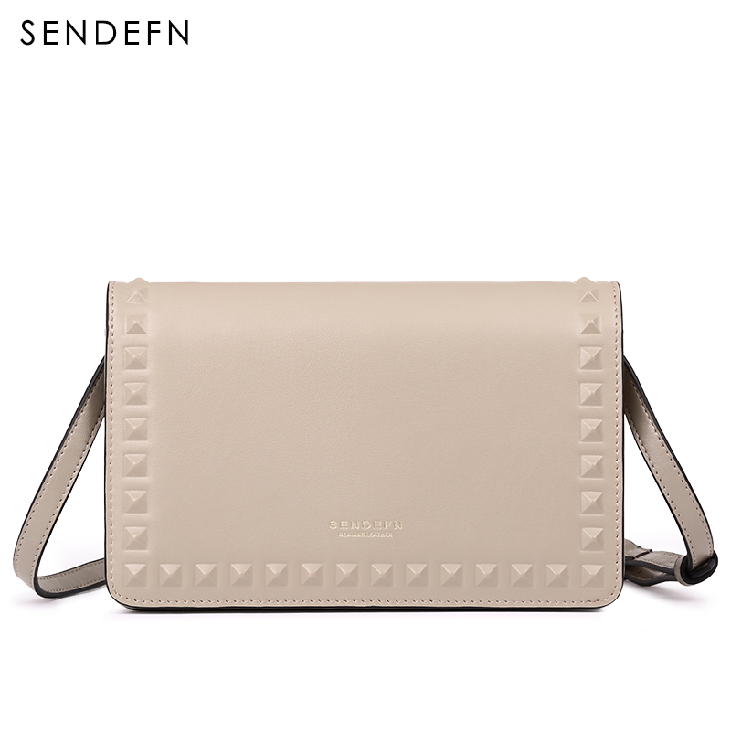 SENDEFN Brand Crossbody Bag Casual Shoulder Bags Women Small Fashion Split Leather Messenger Bags Ladies 2018 New Rivet Bag free shipping 2017 new designers women leather bags handicraft rivet jacket punk style messenger bags shoulder crossbody bag go