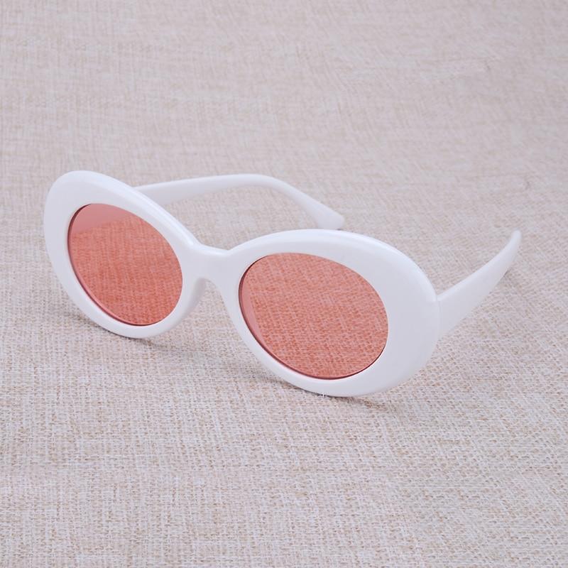 Vazrobe décision lunettes Kurt Cobain Lunettes Steampunk Vintage Rétro Celebrity Hip Hop lunettes de Soleil Hommes Femmes Blanc/rouge Ovale