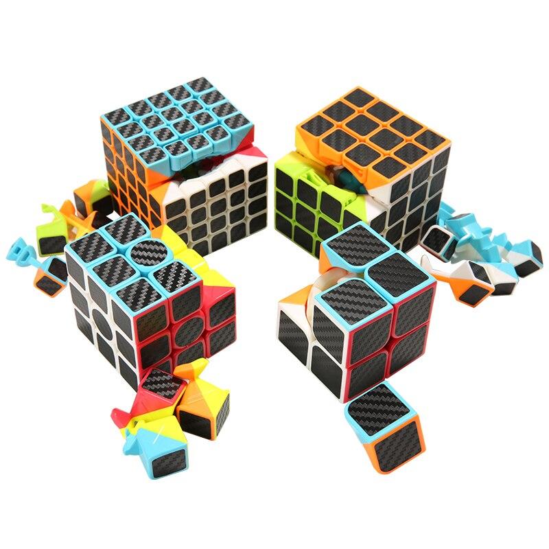 Serat karbon Stiker Kecepatan 2x2x2 3x3x3 4x4x4 Magic Cube Magico Otak Tester Mainan Pendidikan Puzzle Cube