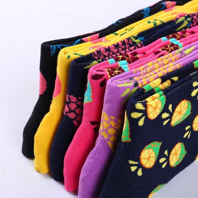Cotton Fruit Socks Women Lovely Striped Avocado Food Socks Dot Point New Design Ukraine Kawaii Cute Spring Socks B-0772