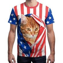 цена на 2019 New USA Flag T-shirt Men Sexy 3d Print Short Sleeve Striped Cute Cat Tops