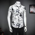 Moda Verão Camisa Dos Homens de Qualidade Plus Size Slim Fit Camisas Casuais Mens Gola Virada Para Baixo de Manga Curta Camisa Floral Meninos dos homens 5XL