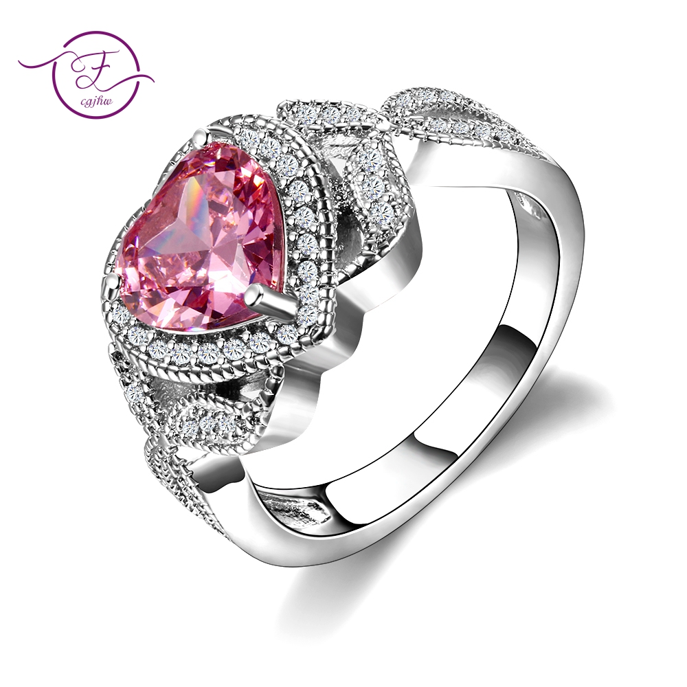 New Arrival 100% 925 Sterling Silver Pink Spinel Ring Love Heart Romantic Finger Rings For Women Fashion Wedding Jewelry bagueNew Arrival 100% 925 Sterling Silver Pink Spinel Ring Love Heart Romantic Finger Rings For Women Fashion Wedding Jewelry bague