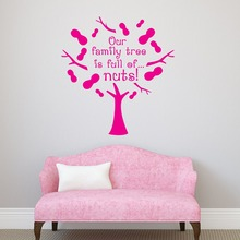 High Quality Quote Wall Decal Our Family Tree Is Full Of Nuts Funny Vinyl Stickers Removable Pattern Home Decor SY14