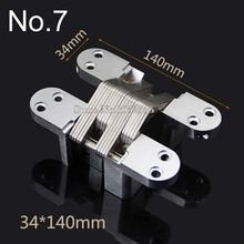2X Invisible Concealed Cross Door Hinge 34x140mm Stainless Steel Hidden Bearing 60KG For Folding Background Wall K101