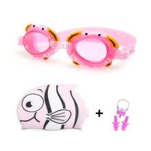 Children Swimming Goggles Swim Caps Ear Plug Nose Clip Set Boy Girl Waterproof Silicone Kids Glasses Pool Eyewear