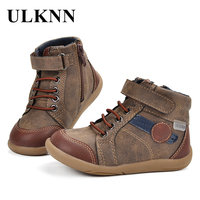 ULKNN Casual Shoes Kids Boys Tenis Menino Genuine Leather Retro Side Zipper Children Shoes Boys Leather