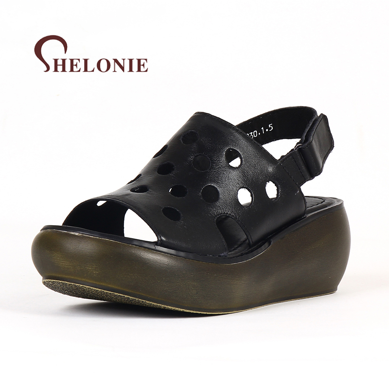 shelonie Genuine Leather Women Shoes Hook & Loop Leisure Handmade Casual leather Shoes Soft Casual Women Sandals Shoes 2018 New summer shoes woman handmade genuine leather soft sandals casual comfortable women shoes 2017 new fashion women sandals