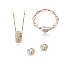 Новинка,, ювелирный набор с кристаллами, золотое ожерелье, серьги, ювелирные наборы, мода для женщин