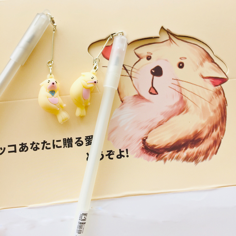 2X Lovely Otter Pendant Gel Pen Rollerball Pen Writing Student Stationery School Office Supply Black 0.5mm