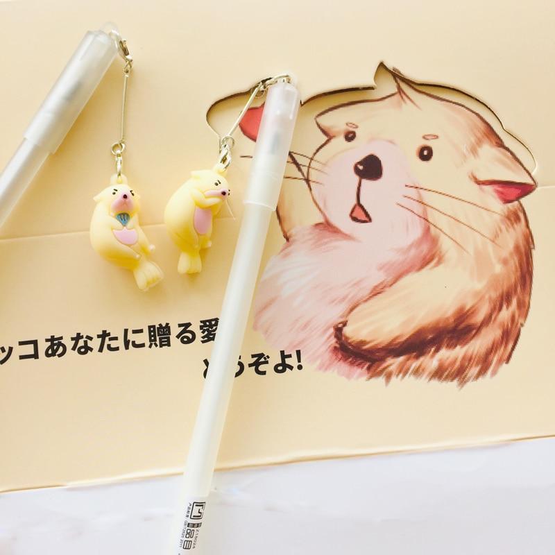 2X Lovely Otter Pendant Gel Pen Rollerball Pen Writing Student Stationery School Office Supply Black 0.5mm