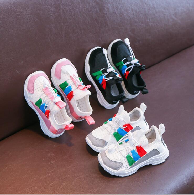 Hot Kids Sport Running Shoes White Sneakers Boys Girls Breathable Air Mesh Children Tennis Basketball Shoes