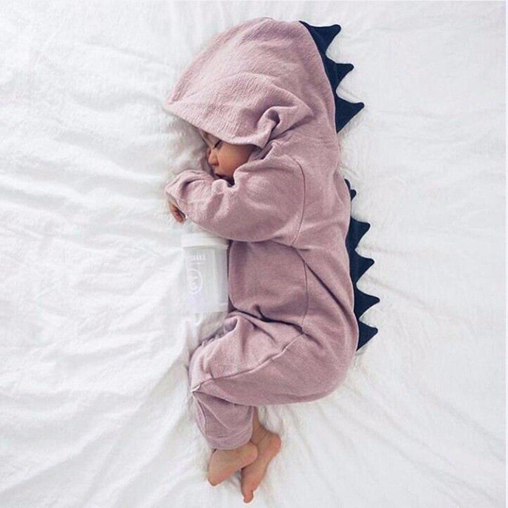 Jungen Mädchen Halloween Dinosaurier-kostüm Neugeborenen Kleinkind Overall Rompe Langarm Reine Farbe Kleidung