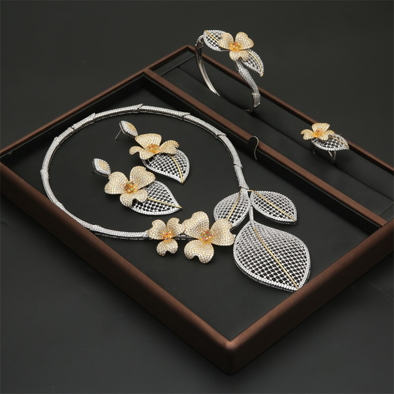 Flower+Leaf Cubic Zirconia African Indian Necklace Earring Rings Set Dubai Nigerian Wedding jewelry sets For Women Bride Gifts