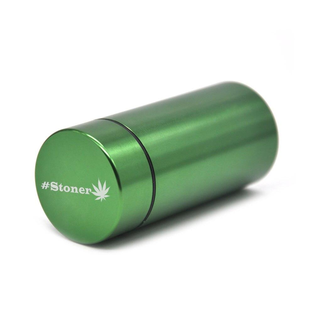 Тайник jar-герметичная запах доказательство Алюминий травы контейнер травы Шлифовальные станки курительная трубка Pill Box, отправить сигары держатель+ Стекло советы для - Цвет: Green-Stoner