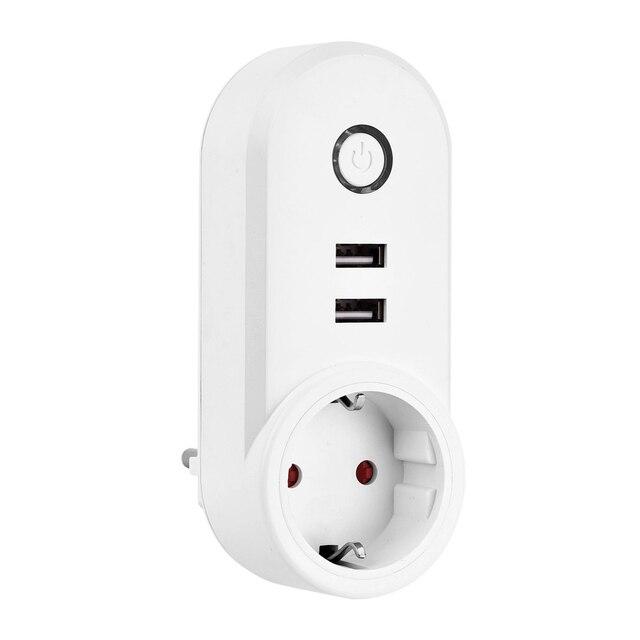 Thông minh Wifi Ổ Cắm Ổ Cắm Điện Thông Minh 2 USB Cổng Sạc, Hẹn Giờ, Điều Khiển nhà thiết bị từ bất cứ nơi nào, làm việc với Amazon Alexa