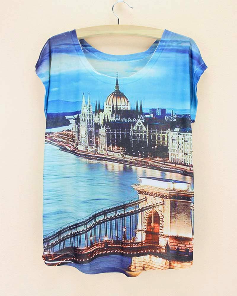 Shirt design london - London Bridge River Landscape Print Sexy Tshirt Blue Sky Fashion Design Poleras Mujer 2015 New T