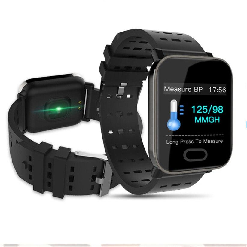 Relógio Inteligente com Monitor de Freqüência Cardíaca de Fitness Rastreador A6 Pressão Arterial Pulseira Smartwatch À Prova D' Água Para IOS Android PK Q8 V6 s9