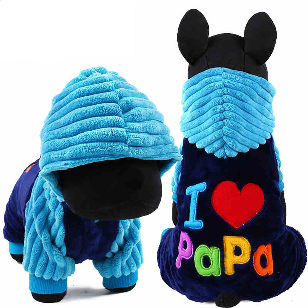 Fashion I Love Papa And Mama Winter Dog Apparel Clothing For Pet Small Large Dog Jumpsuit Jacket XXS XS S M L
