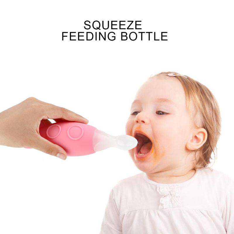 Hot Brand Squeeze Silicone Baby Bottle Spoons Feeder Baby Feeding Spoon Without Bpa 4 Color