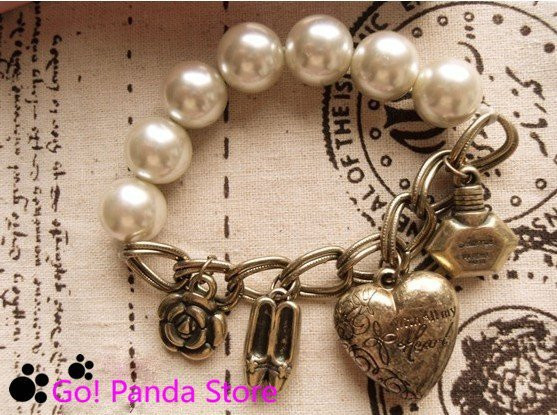 simulated Pearl Bracelet New arrival ! Vintage Perfume high heels love heart flowers Bracelet Free Shipping 123005K