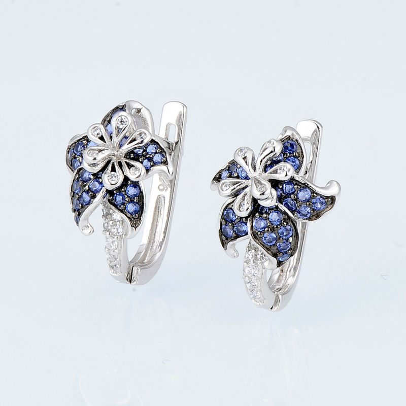 Image 2 - SANTUZZA Silver Earrings For Woman Pure 925 Sterling Silver Blue Star Flower Cubic Zirconia серьги женские Fashion Jewelry-in Stud Earrings from Jewelry & Accessories