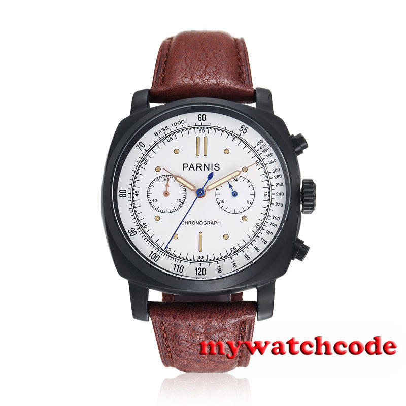 44mm Parnis white dial PVD brown strap full Chronograph quartz mens watch P623 цена и фото
