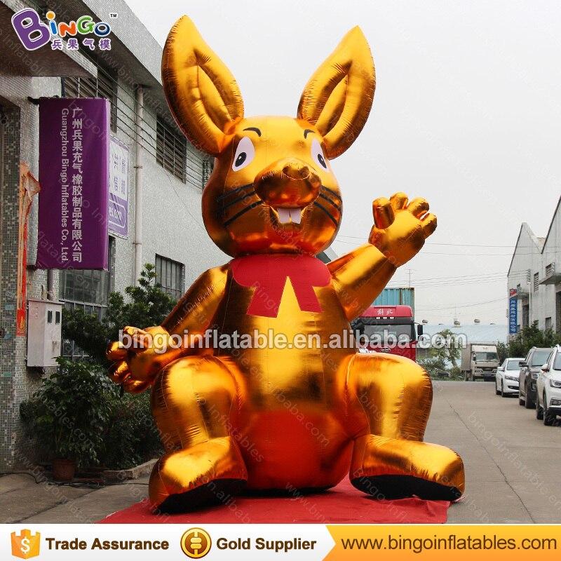 Декоративные 5 метров высокий большой надувной Золотой Кролик индивидуальные цифровой печати гигантский надувной заяц распродажа игрушка ...