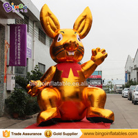 Decorative 5 Meters tall large inflatable golden rabbit customized digital print giant inflatable hare sales toy sports