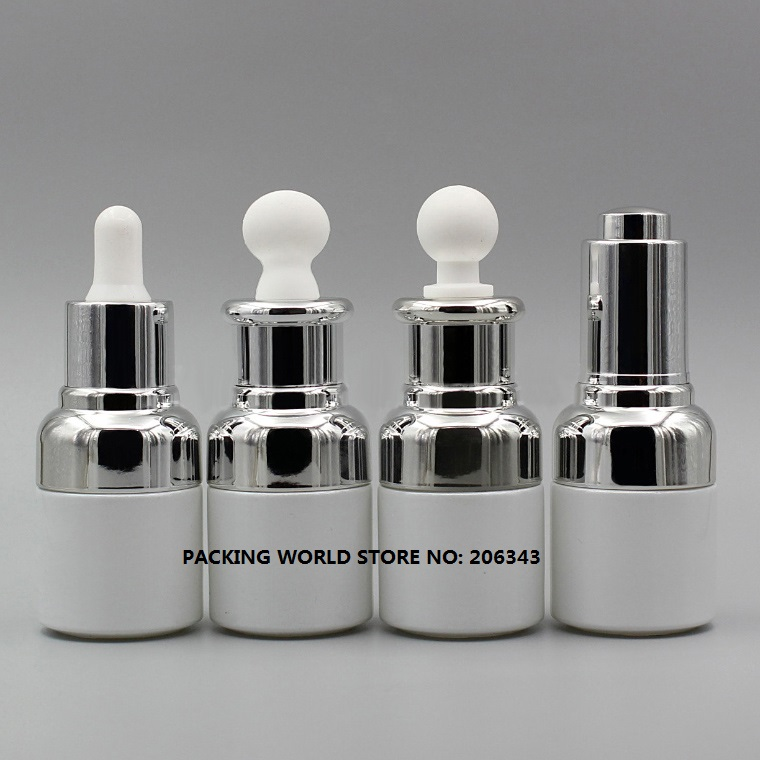 20ml white glass bottle with sivler shoulder and silver collar bulb dropper for serum oil essence