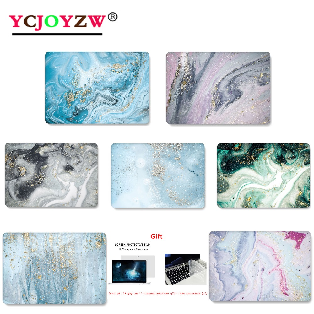 YCJOYZW Marble Print Color Laptop Case For MacBook Air Retina Pro 11 12 13 15 For Mac Book New Pro 13 15 Inch+with Touch Bar