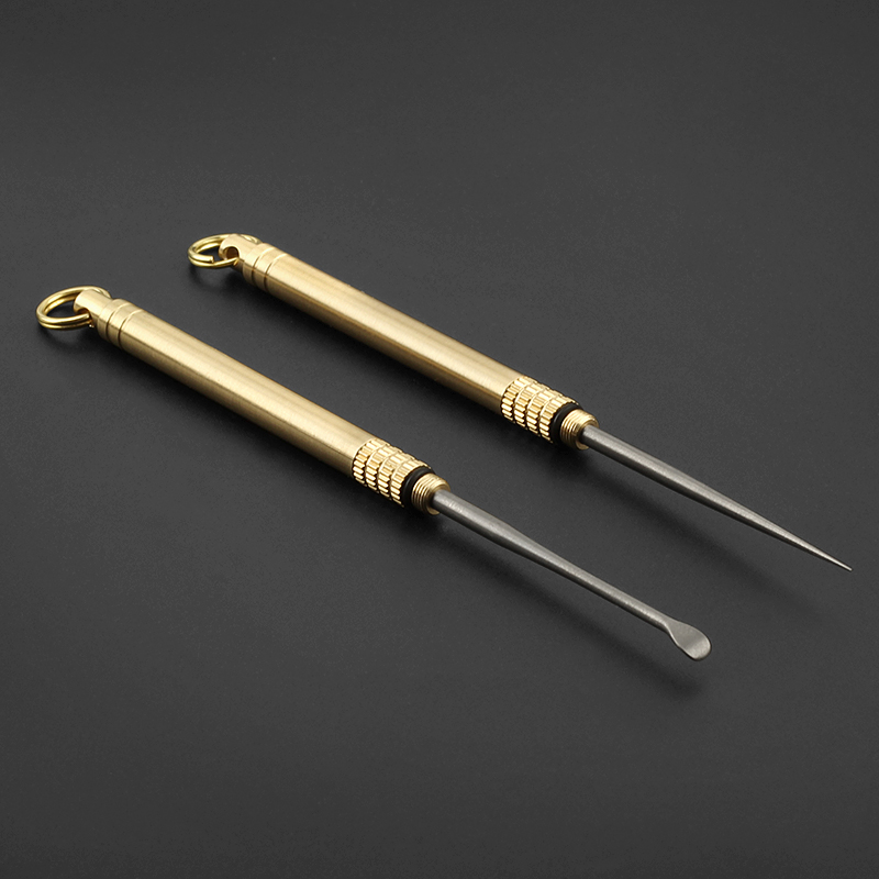 Mini Brass Titanium Alloy Ear Spoon /& Toothpick Portable Outdoor Travel Tool Kit