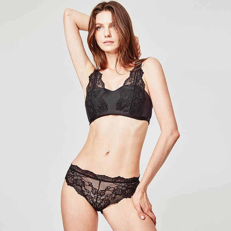 Munllure สีดำและสีขาวเซ็กซี่เย็บภาษาฝรั่งเศสคำชุดชั้นในผู้หญิงไม่มีแหวนเหล็ก light gathering ครึ่งถ้วย bra ชุด