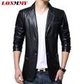 LONMMY 2016 Fake Leather jacket men suits blazers for man PU Slim fit Fashion men blazer suit Casual male leather jacket blazer