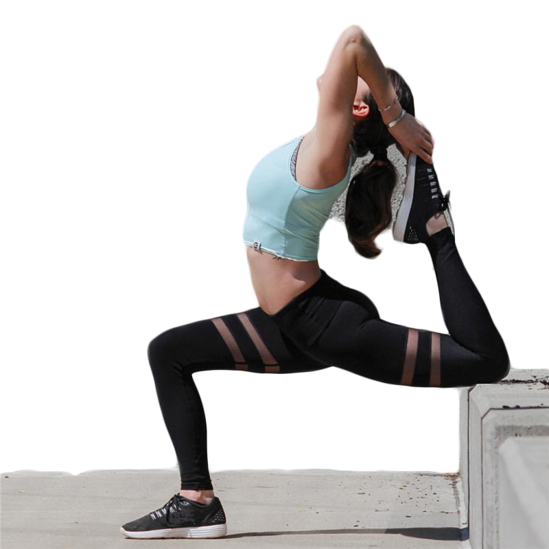 Double mesh yoga pants running tights women Sexy Black yoga leggings fitness women yoga pants sets fitness yoga leggings elastic tights sport running gym bra breathable pants t shirt 3pcs setleri clothes