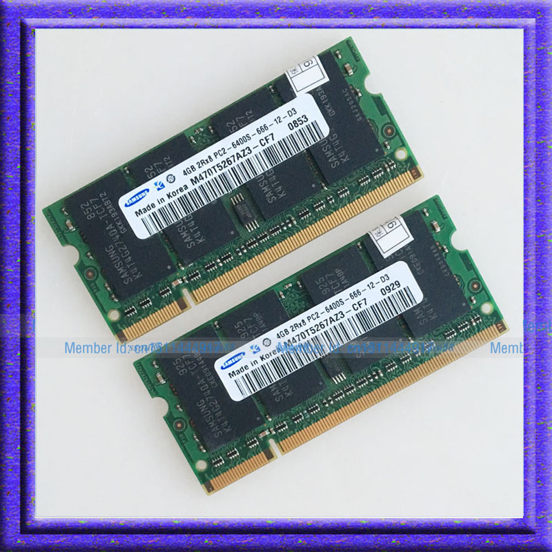 DDR2 Laptop Memory For Samsung 8GB 2x4GB PC2-6400 DDR2 800 800Mhz 200pin Laptop Memory SODIMM Notebook 2x4G RAM