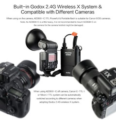 Godox AD360II-N TTL na/Off-CameraFlash Speedlite 2.4G WirelessX System dla N D7100 D5200 D5100 D5000 D3100 d90 D40 D60 CD50