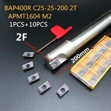 10PCS lathe tool APMT1135 M2+1PCS 25mm holder BAP400R C25-25-200 2T CNC machine carbide milling insert cutter
