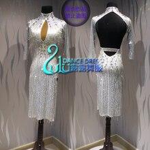 Vestido de baile latino de competición, tubo de cuentas blancas